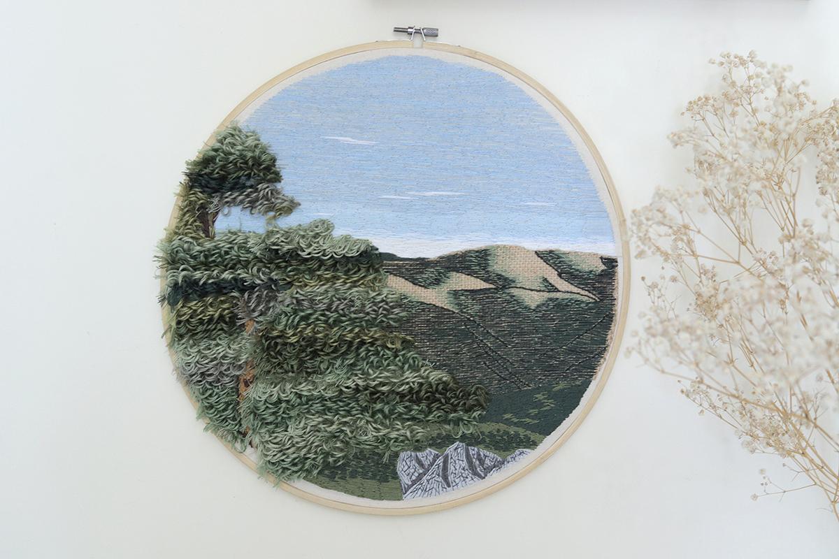 Bordado de paisagem